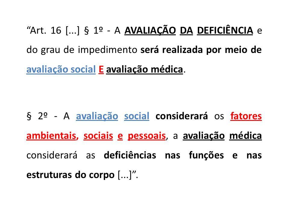 Art. 16 [...] § 1º - A AVALIAÇÃO DA DEFICIÊNCIA e do grau de impedimento será realizada por meio de avaliação social E avaliação médica.